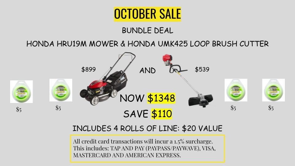 Honda HRU19M mower & Honda UMK425 loop brush cutter